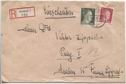 Sudeten Karlsbad Walter Lippert Hotel Pupp Einschreibebrief 26.6.42 > Prag Firma - Besetzungen 1938-45