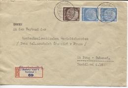 Sudeten Provisorischer R-zettel Karlsbad 1 Einschreiben Brief-vs 16.12.38 > CSR - Occupation 1938-45