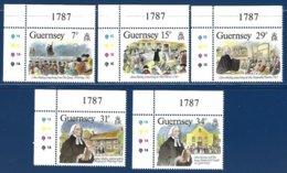 Guernsey, Yv 407/11, John Wesley, Prédicateur Méthodiste, Coin De Feuille N° De Planche ** - Guernesey