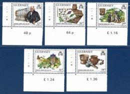 Guernsey, Yv 423/7, Frederick Corbin Lukis, Archéologue. Coin De Feuille N° Planche ** - Guernesey