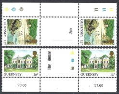 Guernsey, Yv 417/18 (gutter Pairs+margin) Série Courante, Vues De L'île ** - Guernesey