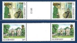 Guernsey, Yv 417/18 (gutter Pairs) Série Courante, Vues De L'île ** - Guernesey