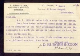 Rotterdam - Cargadoors D Burger & Zoon - 1910 - Marcofilia