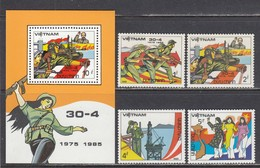 Vietnam 1985 - 10th Anniversary Of The Liberation Of South Vietnam, Mi-Nr. 1554/57+Bl. 33, MNH** - Vietnam