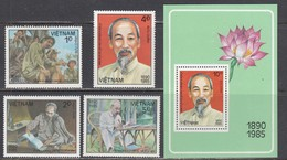 Vietnam 1985 - 95th Birthday Of Ho Chi MInh, Mi-Nr. 1588/91+Bl. 39, Perforated, MNH** - Vietnam