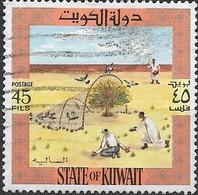 KUWAIT 1973 Birds And Hunting Equipment - 45f - Driving Great Grey Shrikes Into Net FU - Kuwait