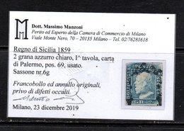 2 Grana Azzurro Chiaro (6g) Pos. 69 Usato Con Attestato Manzoni BB (€ 220) - Sicilia