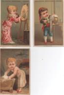 51 REIMS Chromo  Aux Galeries Rémoises LOT De 3 Chromos (avec Calendrier  1881 Au Dos) - Reims
