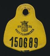 OUDE 1934 EMAIL FIETSPLAAT OOSTVLAANDEREN  HEEL MOOIE STAAT  - 2 AFBEELDINGEN - Plaques D'immatriculation