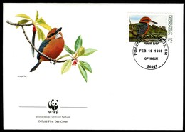 07909) Mikronesien - 1990 WWF 093 - Mi 174 / 177 - 4 FDC - Vögel Mikronesiens - Mikronesien