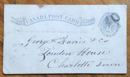 CANADA POST CARD  ONE CENT FROM O'LEARY STATION 7/1/1884 TO  CHARLOTTETOWN Via SUMMERSIDE - Südafrika (1961-...)