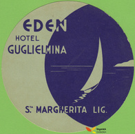 Voyo EDEN HOTEL GUGLIELMINA Santa Margherita Ligure Italy  Hotel Label 1960s Vintage - Hotel Labels