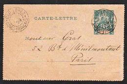 CONGO FRANCAIS: Entier Postal Du Congo Type Carte- Lettre Obl Cap Lopez En 1899, Congo Français Pour Paris. - Congo Français (1891-1960)