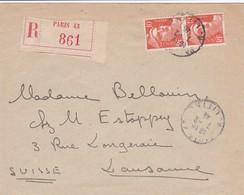 722 X 2 S / Env Recommandée T.P. Ob Cad Paris 43 7 2 46 Pour Lausanne Suisse - 1945-54 Marianne Of Gandon