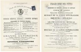 SAONE & LOIRE AFFICHE NON PLIEE 210 X 267mm 1C SAGE CAD CHALONS 6 MAI 1881=> AIN.COTE D OR.DOUBS.JURA.SAONE ET LOIRE HAU - 1898-1900 Sage (Type III)