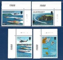 Guernsey, Yv 428/31, Championnats Du Monde De Motonautisme, Coin De Feuille N° Planche ** - Guernesey