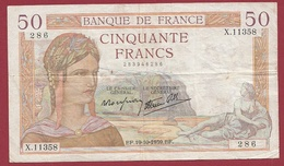 "50 Francs ""Cérès"" Du 19/10/1939.EF--F/TTB+ --ALPH X.11358 - 50 F 1934-1940 ''Cérès''"