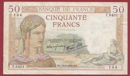 "50 Francs ""Cérès"" Du 15/09/1938.BA--F/TTB+ --ALPH T.8401 - 50 F 1934-1940 ''Cérès''"