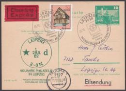 """Mi-Nr. P79, Zudruck """"Leipzig, 1982"""", Mit Guter Zusatzfr. Auf Eilboten - Cartoline - Usati"""