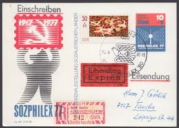 """Mi-Nr. P82, Als R- Eilbote Mit Guter ZUsatzfr. Und SbPA- Sonder-R- Zettel """"Aerosozphilex 80"""", Pass. Sst, Einlieferschein - Cartoline - Usati"""