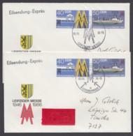 """Mi-Nr. U4, 2 Eilboten- Belege, Versch. Sst """"Leipziger Messe"""", 1986, Je Ankunft - DDR"""