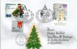 Bureau De Poste Noël . Christkindl (Oberndorf Bei Salzburg) 2019. Letter Sent To Andorra With Arrival Postmark - 1945-.... 2a Repubblica