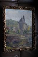 Superbe  Huile Sur Toile église De ? Daté De 1934 ,dimensions 39 Cm. Sur 29 Cm. Signature à Identifier - Huiles