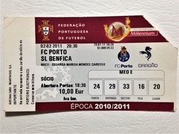 Football Ticket, FC Porto Vs SL Benfica, Porto, February 2, 2011 - Tickets - Entradas