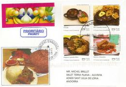 La Gastronomie Brésilienne: Feijoada,Filé à Osvaldo Aranha,etc. Belle Lettre Du Brésil 2019, Adressée Andorra - Alimentation