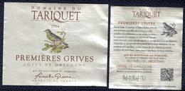 France Lot 2 Étiquettes Vin Wine Labels 2014 Domaine Du Tariquet Premières Grives Côtes De Gascogne - Weisswein