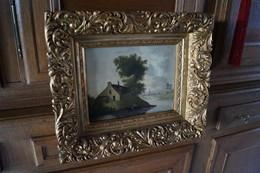 Superbe Ancienne Huile Sur Toile  Signature E.Vannerom ? Superbement Encadrée,Antique Originale,42 Cm./ 36 Cm. - Huiles