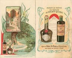 - Allier -ref-C511- Vichy - Publicité Vichy Quina Et La Celestine - Carte 2 Volets - Menu 1912 - Le Patriote De Lezoux - Vichy