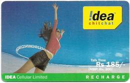 India - Idea - Woman Rising Her Hands, GSM Refill 185₹, No Expiry Date, Used - India