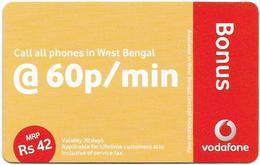 India - Vodafone - Bonus @ 60p-Min, GSM Refill 42₹, Exp.20.05.2011, Used - India