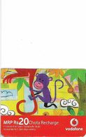 India - Vodafone - Monkeys, GSM Refill 20₹, (Half Size 54x43mm) Exp.02.07.2011, Used - India