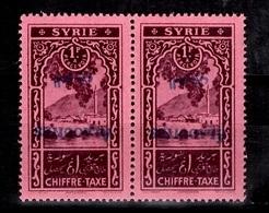 Alaouites Taxe Maury Variété YT N° 7  Surcharge Renversée En Paire Neufs ** MNH. TB. A Saisir! - Alaouites (1923-1930)