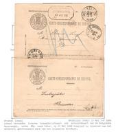 REF152/ Carte Correspondance C.F.de L'Etat Belgique C.BXL 2/5/1886 Avec Réponse C.Hexagonal BXL Entrepôt - Briefe & Fragmente