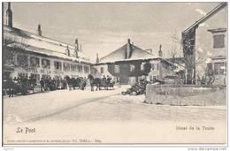 0120 - Vallée De Joux Le Pont Hôtel De La Truite En Hiver Attelage (attention Carte Griffée) - VD Vaud