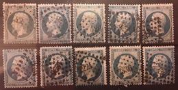 Empire No 22 , 20 C Bleu Dentele,  10 Timbres Tous Obl PC , Petits Chiffres , Ensemble TB - 1862 Napoléon III