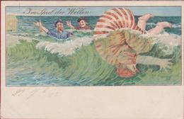 Im Spiel Der Wellen Blankenberghe Illustrator Illustrateur Inconnu 1905 Jugendstil Art Nouveau Belle Epoque CPA - 1900-1949