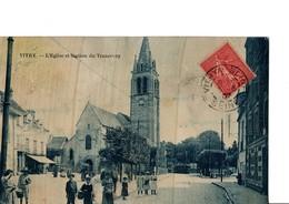 VITRY. -  L'Eglise Et Station Du Tramway.  -  Très Animé.  A Circulé En 1907.  Voir SCANS Recto-verso - Vitry Sur Seine