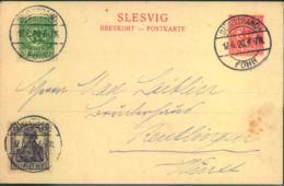 """SCHLESWIG, 1920, Postkarte Mischfrankatur Mit 15 Pfg. Germania """"SÜDSTRAND (FÖHR) 17.6.20 - Abstimmungsgebiete"""