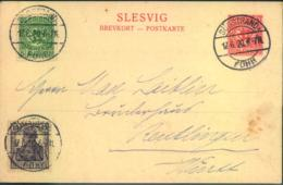 "SCHLESWIG, 1920, Postkarte Mischfrankatur Mit 15 Pfg. Germania ""SÜDSTRAND (FÖHR) 17.6.20 - Germany"