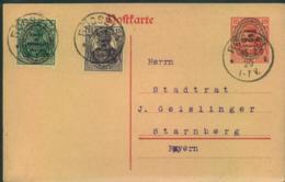 ALLENSTEIN: 1920, Bedarfs-Ganzsachenkarte Mit Zusaatzfrankatur Ab RÖSSEL - Duitsland