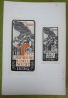 2 Ex-libris Illustrés XIXème - TYPOGRAPHISCHE GESELL-SCHAFT - LEIPZIG - Société Typographique - Ex-libris