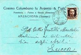 """ARZACHENA - OLBIA TEMPIO - CARTOLINA COMMERCIALE PUBBLICITARIA """"COSIMO COLUMBANO & FIGLI"""" PANETTERIA FARINA - 1940 - Olbia"""