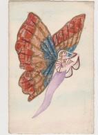 Cpa Fantaisie Avec Découpis De Timbres ( Semeuse ) .Femme Papillon - Timbres (représentations)