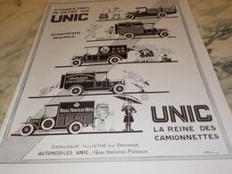 ANCIENNE PUBLICITE LA REINE DES CAMIONNETTE UNIC  GRUBER 1926 - Camion