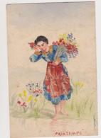 Cpa Fantaisie Avec Découpis De Timbres ( Semeuse ).Printemps.Jeune Fille Cueillant Des Fleurs - Timbres (représentations)