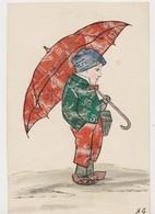 Cpa Fantaisie Avec Découpis De Timbres ( Semeuse).Garçon Sous Un Parapluie - Timbres (représentations)